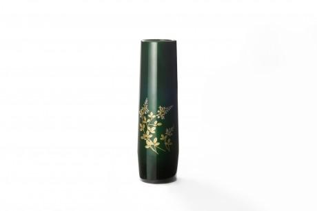 玉虫塗 胴張花瓶 小 緑 萩
